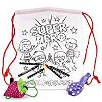 25 Backpacks Color Your Own + Reusable Bag | 25 Individual Bags with 5 Coloured Crayons and a Balloon | Children