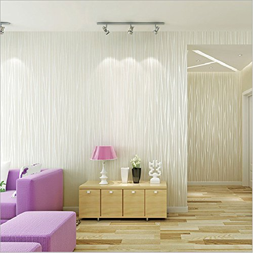 7. Ketian Moderner Fashion Classic Beflockung Uni, Streifen Curve  Vliestapete Wand Papier Für Wohnzimmer Schlafzimmer Tapete Rolle 0,53 M  (1,73 U0027W) X 10 M ...