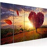 Bilder Herbst Baum Herz Wandbild 150 x 60 cm Vlies - Leinwand Bild XXL Format Wandbilder Wohnzimmer Wohnung Deko Kunstdrucke Rot 5 Teilig - MADE IN GERMANY - Fertig zum Aufhängen 605856a