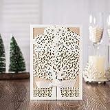 VStoy Neuestes weißes Laser-Schnitt-Blumen-Baum-Silk Bindung Hochzeits-Einladungs-Karten (20PCS)