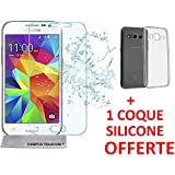 First glass® 1 Vitre en verre trempé + 1 Coque Gel Silicone Samsung Galaxy Core Prime VE G360 G361 Premium Anti Chocs, Anti empreintes