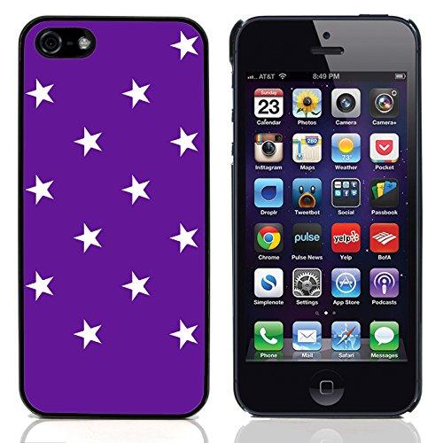 Graphic4You Sterne Muster Design Harte Hülle Case Tasche Schutzhülle für Apple iPhone 5 und 5S (Rot) Lila