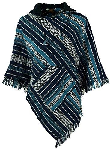 Guru-Shop Poncho Hippie Chic, Andenponcho mit Fransen, Herren/Damen, Blau, Baumwolle, Size:One Size, Jacken, Ponchos Alternative Bekleidung