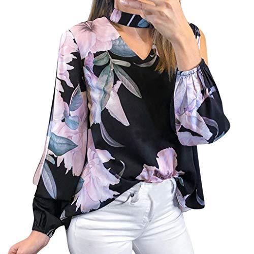 (Yazidan Bluse Frauen Mode Damen Blumendruck Langarm T-Shirt Unregelmäßig Oberteile Sexy V-Ausschnitt Hemd Lässig Abschlag Startseite Kleidung Lose Sweatshirt Elegant Outfits Abstand(Schwarz,M))
