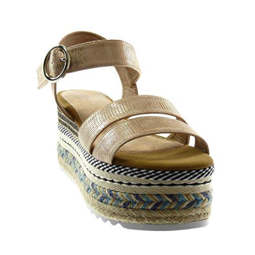 Angkorly Chaussure Mode Sandale Mule Lanière Cheville Plateforme Folk Femme Multi-Bride Peau de Serpent Boucle Talon Compensé Plateforme 8.5 cm Champagne