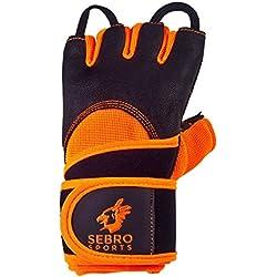 SEBRO SPORTS Trainings-Handschuhe mit Handgelenk-bandage für Damen und Herren | Aus Leder | Für Kraft-Sport, Fitness, Freeletics, fingerlos mit Klettverschluss für Schutz und Griff-Kraft im Training