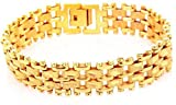 Men 18K Yellow Gold Plated Chain Bangle ...
