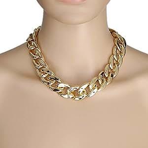 Kunststoff Kette Statement Glieder Halskette Farbe: gold