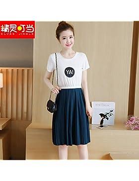 La versión coreana de la muchacha elegante vestidos de mangas cortas faldas dos emulación,S,blanco