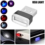 Alician 1pcs Universal Mini USB LED Wireless Car Interior Lighting Atmosphere Light Foot Lamp red
