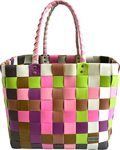 normani Einkaufstasche geflochten mit Henkeln - Tragetasche extra robust Farbe Classic/Orchidea Orchidee-band
