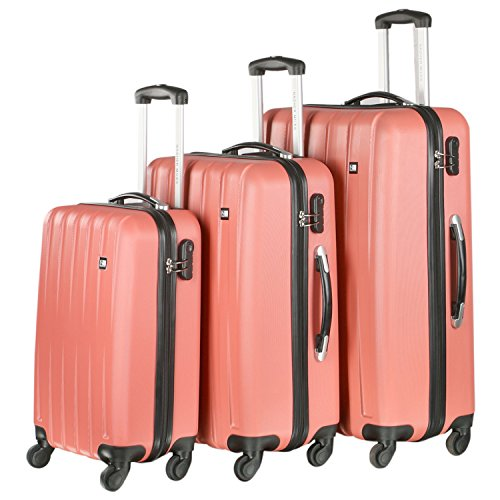 Nasher Miles Zurich Pink Abs Hard Luggage Set Of 3 Trolley/Travel/Tourist Bags (55, 65 & 75 Cm)