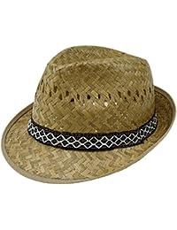 EveryHead Sombrero De Paja Los Hombres Fedora Verano Equinácea Gorro Fiesta  Vacaciones Playa Cinta Patrón para d0d8c1eec08