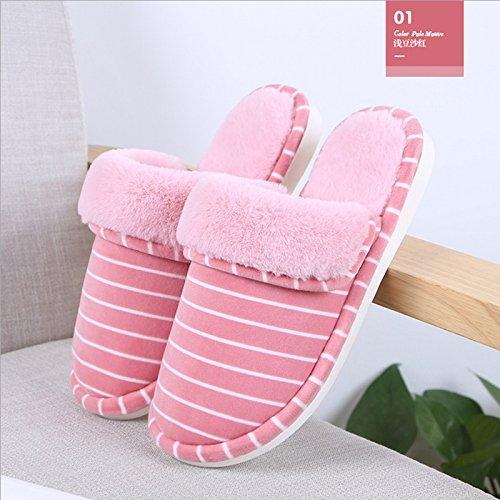 LaxBa Glisser sur l'hiver au chaud en Fausse Fourrure Chaussons neige bordée Chaussures pour hommes , Des modèles féminins rouge pastèque peu profondes