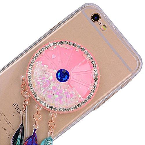 Yokata für iPhone 6 / iPhone 6s Hülle Weich Silikon Transparent Case Schutzhülle Durchsichtig Clear Crystal Glitzer Cover Backcover Bumper mit 3D Federn Campanula Lila Muster + 1*Stylus Pen Weiß