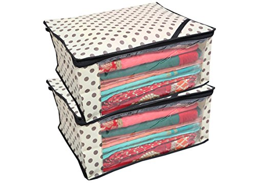 Kuber Industries™ Polka Dots Saree Cover/Regular Cloth Bag/Wardrobe Organiser Set of 2 Pcs (Ivory)