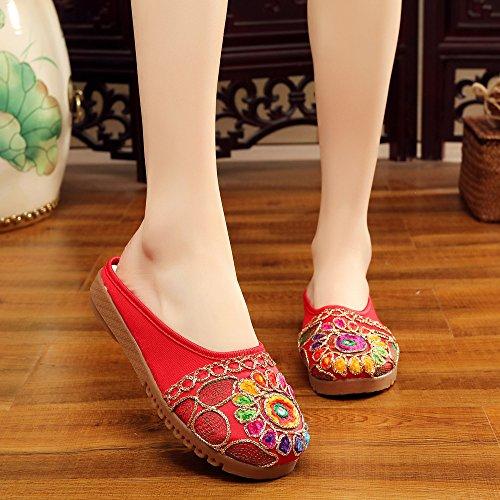 Desy Chaussures Brodées, Tendon Unique, Style Ethnique, Flip Flop Femme, Mode, Confortable, Sandales Rouges