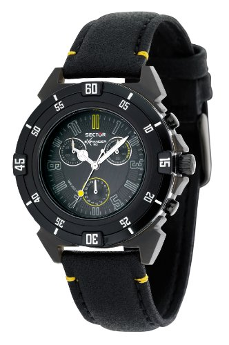 Sector Unisex Watch R3271697125 In Collection Expander 90 With Black Dial & Black Colour Leather Strap