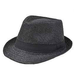 Hosaire Sombrero Negro Sombrero de Sol Paja De Paja de Playa Topper Verano Playa Gorro para Mujer Hombre Unisex