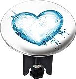 WENKO 21260100 Waschbeckenstöpsel Pluggy® XL Water Heart - Abfluss-Stopfen, für alle handelsüblichen Abflüsse, Kunststoff, 6.2 x 6.6 x 6.2 cm, Mehrfarbig
