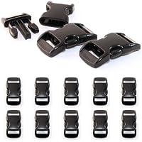 """10er SET 3/8"""" Klickverschluss / Klippverschluss (Steckschließer) aus Kunststoff für Paracord Armbänder, Kordeln etc., 29mm x 10mm, Farbe: Schwarz - Marke Ganzoo ..."""