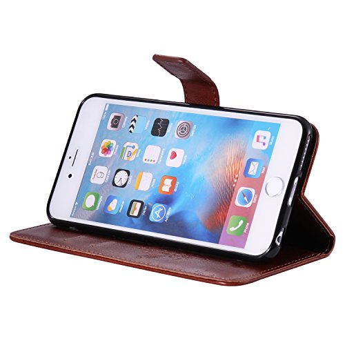 EUWLY Lanyard Portafoglio Cover in Pelle per [iPhone 6 Plus/iPhone 6s Plus (5.5)],Creativo Divertente e Carina Retro Wallet Custodia [gatto, Albero] Goffratura Modello Cover Case per iPhone 6 Plus/iP Gatto Albero,Marrone