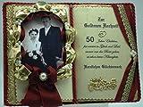 Goldene Hochzeit - 50-jähriges Ehejubiläum - Dekobuch für Foto (mit Holz-Buchständer), Schmuckbücher für alle Anlässe
