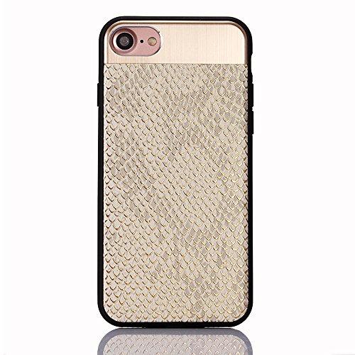 "iPhone 7 Hülle, iPhone 7 Schwarze Silikontasche, CLTPY Ultra Hybrid 2 in 1 Plating TPU Schutzfall, Dünne Weben Muster Series Stoßfest Case für 4.7"" Apple iPhone 7 + 1 x Stift - Black A Silber B"