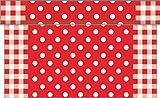 Sovie HOME Tischläufer ANTON / Linclass® Airlaid Tischläufer 40 cm x 4,80m / Tischdecken-Rolle stoffähnlich / Einmal-Tischdecke für Hochzeit & Partys/ Punkte (Rot)
