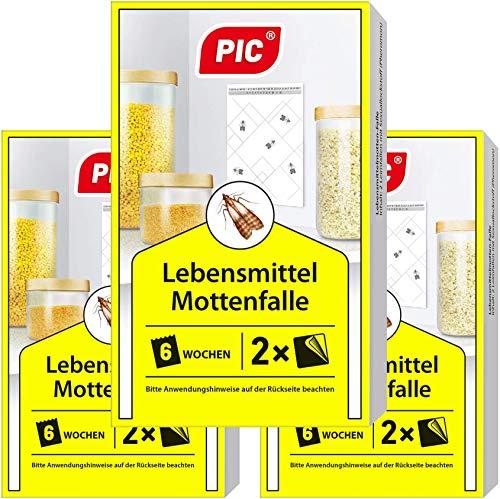 PIC Lebensmittel-Mottenfalle - Dreierpack = 6 Stück - Mittel zur Bekämpfung und Schutz vor Motten in der Küche und Lagerräumen 6 Küche