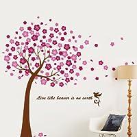 Walplus - Adhesivos decorativos para pared, diseño de cerezo en flor, transparente