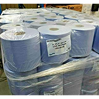 6 x Blue Centrefeed Roll 150M Tissue Wipes 3Ply Commercial Industrial Multi Purpose