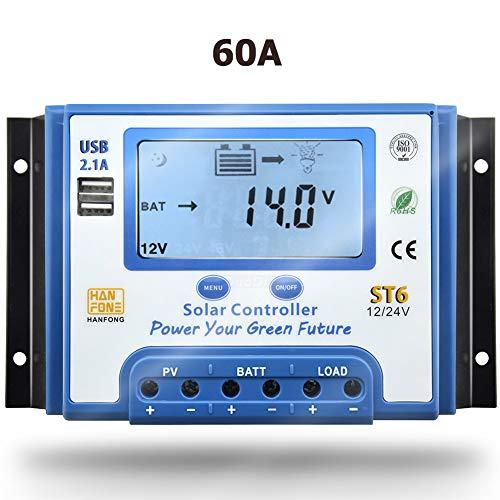 SolaMr 60A Solarladeregler 12V/24V Intelligenter Regler mit LCD-Display und doppeltem USB-Anschluss für Solarbatterien - ST6-60A