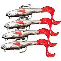 4pièces: longues lignes, crochets aiguisés, leurres de pêche d'eau douce à tête de plomb et appât pour poisson d'eau douce, de 10cm et 9,3 g.