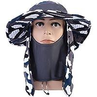 Sombrero del Sol de la Protección con Ala Ancha 360°Protección de Cuello y Cara Gorra con Visera Ancha Sombrero con Borde Ancho de Protección contra ULTRAVIOLETA para Ir de Excursión Escalada ( Color : Dark Gray Camouflage )