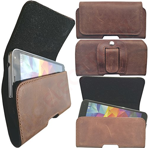 MOELECTRONIX HQ ECHT Leder Gürtel BRAUN Seiten Quer Tasche Belt Cover Case Schutz Hülle Etui für HomTom HT3 Pro
