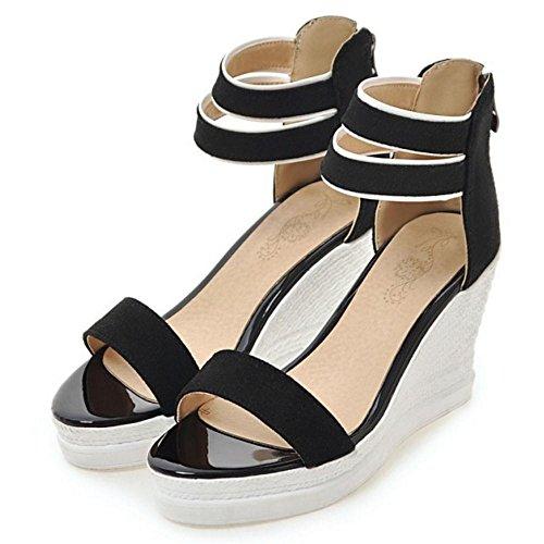 TAOFFEN Damen Gemutlich Keilabsatz Sandalen Sommer Schuhe mit Rei?verschluss Schwarz