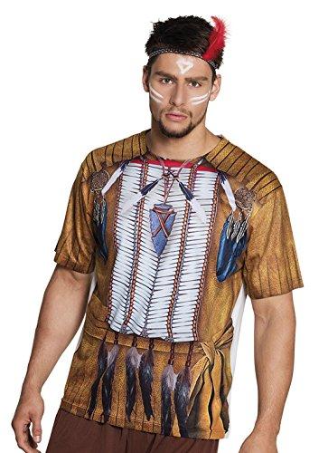 Faschingsfete Herren Halloween Karneval Kostüm Indianer Fotodruck LA Shirt, L, ()