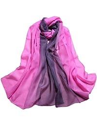 8e1205102519 IMJONO Mode aux Femmes Dame Echarpes et foulards Pente Couleur Longue  Emballage Châle Mousseline de soie