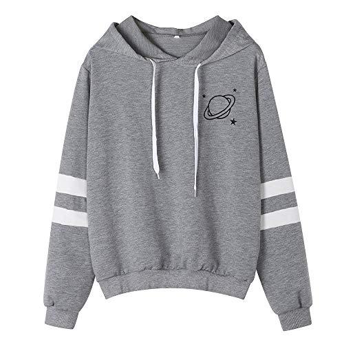 CixNy Damen Gedruckt Planet Kapuzenpullover Herbst Langarm Pullover Streifen kausalen Tops Bluse Hoodie Sweatshirt Casual Jacket (Grau, M) -