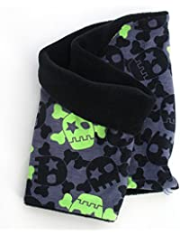 WOLLHUHN Warmes Halstuch, Schlupfschal schwarz-grau mit coolen Skulls für Mädchen und Jungen, Innenseite aus Fleece 20141105