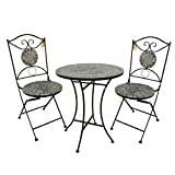 3tlg. Mosaik Sitzgruppe 2X Klappstuhl Mosaiktisch Ø60cm - Gartengarnitur Terrassenmöbel Balkonmöbel Sitzgruppe