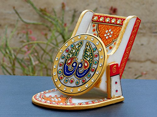Chave India Chave Marble Mobile Stand / card stand / Pen stand with Painting & Kundan Work
