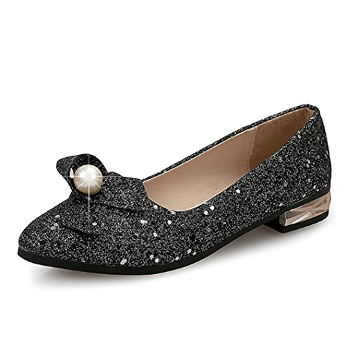 JIANGFU Wohnungen Perlen wies Asakuchi Schuhe Schuhe,Frauen Casual Solid Perle paillette All Season Ballett Slip Auf Flat Loafers Schuhe (37, BK) (Perlen Flats Loafers)
