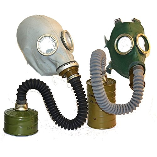 Set of two soviet russian gas masks gray GP-5 with black hose and GP-4 with filtre genuine original new all sizes - Both masks size S (Russian Black Hose)
