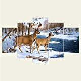 gwgdjk Canvas Living Room HD Home Decoration Modern 5 Panel Deer Snow View Stampato Immagini Pittura Wall Art Poster Modulare-30X40/60/80Cm,Without Frame