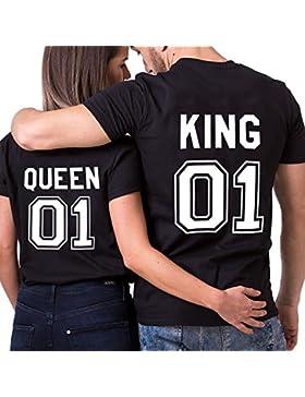 JWBBU King Camiseta Queen Pareja 100% Algodón Shirt 2 Piezas Impresión 01 Manga Corta Rey Riena Regalo Dulce de...