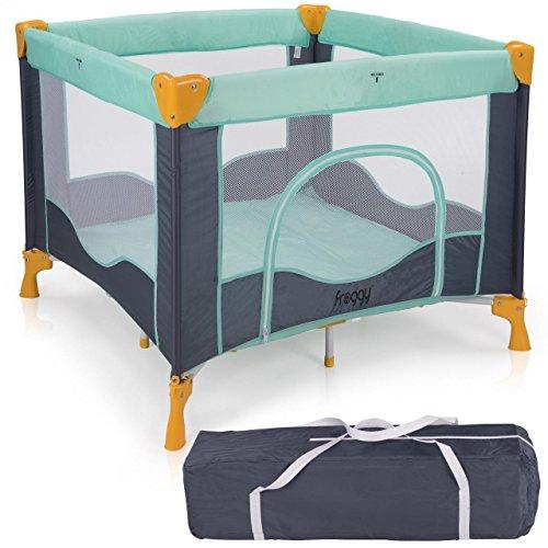 Froggy® Reisebett TROPICAL Babybett Laufstall mit Schlafunterlage, Matratze, praktische Transporttasche, kompakt und höhenverstellbar, 94 x 94 x 76 cm