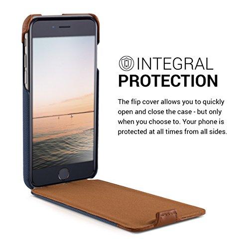 kalibri Cover Emma per Apple iPhone 6 / 6S - Custodia libro in vera pelle e tessuto Flip cover protettiva case per cellulare Design righe .blu marrone