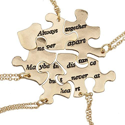 LUX Zubehör Gold Ton Always Together Never Apart Puzzle Halskette Set (Zwei-ton-gold-schmuck)